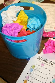 "Great center idea: Trash or Treasure! Students choose a crumpled paper, open it, and read word. If it's real word, write it under ""Treasure"". If it's a nonsense word, write it under Trash."