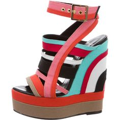 Pre-owned Pierre Hardy Woven Multistrap Wedge Sandals ($195) ❤ liked on Polyvore featuring shoes, sandals, pink, ankle wrap wedge sandals, ankle wrap sandals, ankle strap sandals, platform shoes and platform wedge shoes