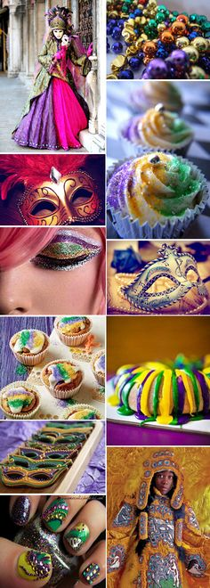 Mardi Gras inspiration! I love the eye make-up maybe I will have to do mine like this for the Club Craw, Tuesday, February 12, 2013.