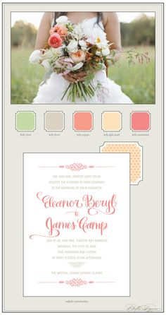 The perfect spring color palette for letterpress wedding invitations