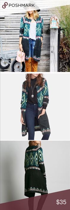 Free people fair isle long cardigan Excellent condition. Rarely worn. So pretty. Will fit sizes xs-m. Free People Sweaters Cardigans
