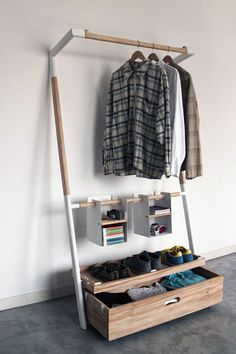Arara Nômade - Clothes Storage Structure by André Pedrini & Ricardo Freisleben - An all-in-one solution for clothing storage for the modern nomad. Easy to put together and take apart for on the go. Nomadic Furniture, Home Furniture, Furniture Design, Furniture Storage, Wooden Furniture, Space Furniture, No Closet Solutions, Storage Solutions, Space Saving Table