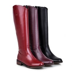 0885966b90f751 Womens Knee High Boots Low Heels zip up high top Riding Casaul Shoes Plus  Size