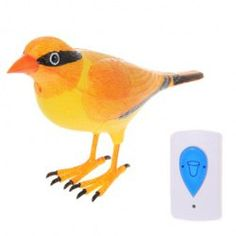 @EverBuying $8.50 Free Shipping! Wireless Lark Bird Remote Control Chime Doorbell (Yellow) #gifts