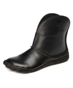 Black Leather Flat Ankle Boot - Flats Boots - Boots - Footwear
