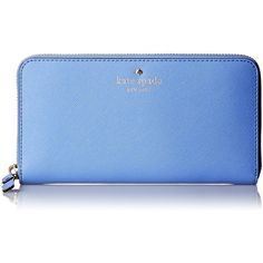 kate spade new york Cedar Street Lacey Wallet ($113) ❤ liked on Polyvore featuring bags, wallets, blue bag, blue wallet, kate spade, kate spade bags and kate spade wallet