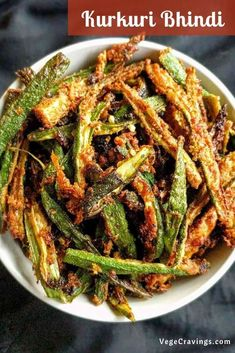 Kurkuri Bhindi is a crispy, spicy & delicious preparation made by deep frying Okra coated in Besan (Chickpea Flour) and spices. Okra Recipes, Raw Food Recipes, Indian Food Recipes, Cooking Recipes, Dried Okra Recipe, Vegetable Dishes, Vegetable Recipes, Bhindi Fry, Vegetarian Snacks