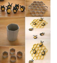 Making the House Prettier with Delightful and Rustic DIY Craft Projects: Arts And Crafts Projects For Adults And Easy Toilet Paper Roll Crafts ~ DIY Craft Inspiration Toilet Paper Roll Art, Rolled Paper Art, Toilet Paper Roll Crafts, Diy Paper, Recycle Paper, Kids Crafts, Diy Craft Projects, Decor Crafts, Arts And Crafts