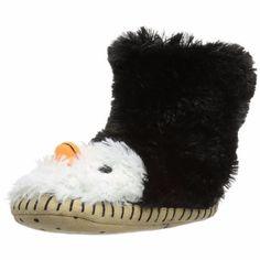 Hatley 7413 Girls Slouch-Slipper Penguin Black Novelty Slippers M 8-10 $25.99 #Hatley #Slippers