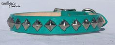 Turquoise Leather Dog Collar with Pyramid Studs. $16.00, via Etsy.