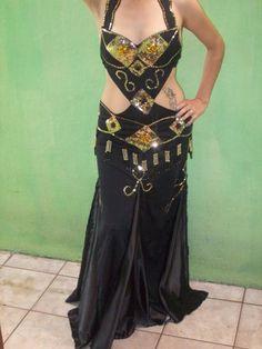 Blog de dancarinasdoventre :Roupas para dançarinas do ventre, vestido preto c/ dourado
