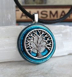 Blue and silver tree of life necklace