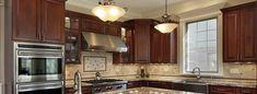 best led lights for kitchen ceiling Flush Ceiling Lights, Ceiling Light Fixtures, Cabinet Refacing, Kitchen Lighting Fixtures, Oak Cabinets, Custom Cabinetry, Kitchen And Bath, Kitchen Interior, Red Oak