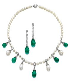 Vintage natural pearl, emerald and diamond necklace, and a pair of earrings, early 20th century