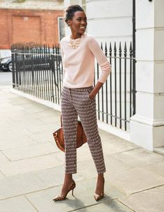 Printed pants, sweater, and heels