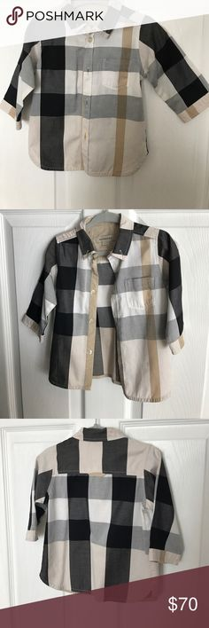 Toddler Authentic Burberry Shirt Basically new! Worn once by my toddler and next time we tried to put it on him it no longer fit! Dry cleaned once.in excellent condition. From smoke+pet free home. Burberry Shirts & Tops Button Down Shirts