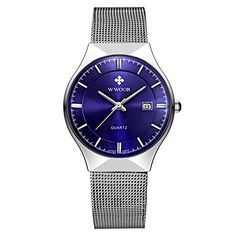 Men's Elite Sport Quartz Watch Male Silver-Tone Ultrathin Stainless Steel Mesh Band Watch With Date Blue ** For more information, visit image link.