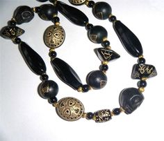 "Black & gold bead necklace, stone, acrylic, glass & wood beads 25.1/2"" long (65cm)"