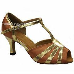 gold salsa shoes | TPS Tan Gold Latin Ballroom Salsa Dance Shoes 3 inches UK5 US7 5 EU38 ...