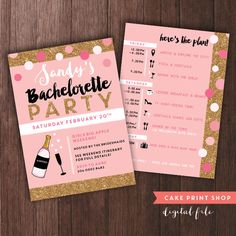 Bachelorette Weekend invitation with itinerary, bachelorette itinerary, PRINTABLE bachelorette invites, gold hen party invite with itinerary by CakePrintShop on Etsy https://www.etsy.com/listing/254043358/bachelorette-weekend-invitation-with
