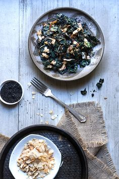 Kale salad with toasted coconut and sesame oil - this fantastic salad from Heidi Swanson has it all - it's crunchy, it's salty, it's satisfying, and feels like comfort food, yet is a health bomb. | www.viktoriastable.com