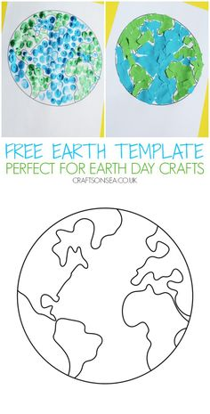 Create easy Earth day crafts and activities with this free printable Earth template for kids Earth Day Activities, Art Activities For Kids, Kindergarten Activities, Preschool Crafts, Kids Crafts, Earth Craft, Earth Day Crafts, Planet Crafts, Daycare Crafts