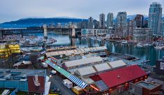 The view of Granville Island from Granville street bridge. Photo Location: Granville Island, Vancouver, British Columbia, Canada Capture Date: December 2012 Camera: Nikon with a Tokina lens Other Photo Gear Used: Sirui Tripod with Tripo Granville Island Vancouver, Vancouver Island, Granville Street, Vancouver Bc Canada, Vancouver Photos, Destinations, Excursion, Camping Car, Colombia