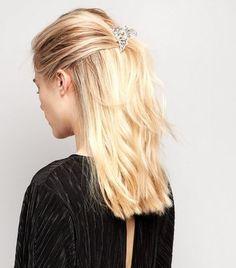 Silver Crystal Bulldog Hair Clip