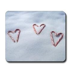 Candy Cane Hearts in the Snow II Mouse Pad ($15.99)