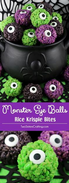 Monster Eye Balls Rice Krispie Bites - these yummy, bite-sized balls of crunchy, marshmallow-y delight have a creepy monster eye and fun Halloween colors! This is a Halloween dessert that is easy to make and even better to eat. These colorful and festiv Postres Halloween, Recetas Halloween, Soirée Halloween, Dessert Halloween, Halloween Baking, Halloween Goodies, Halloween Food For Party, Halloween Coloring, Easy Halloween Treats