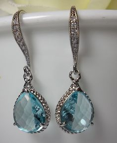 AQUAMARINE Earrings - Sterling Silver earwires - March Birthstone - Beautiful Jewelry - BEST SELLER -. $29.99, via Etsy.