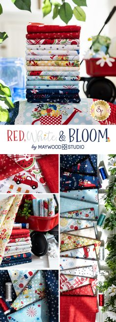 Red, White & Bloom is a patriotic collection by Maywood Studio. 100% cotton. Maywood Studio, Shabby Fabrics, Red And White, Bloom, Cotton, Collection