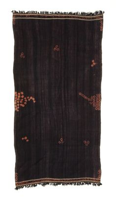 Africa | Baqnouq. Woman's Mantle or Covering. Berber people. Southern Tunisia or Libya | Early 20th century | Wool, cotton, indigo over madder dye  Dip and tie-dye technique