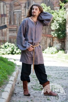 Medieval tunic, natural high-quality authentic pure flax linen