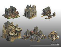 Jason Johnson Environment Art: Rise of Nations buildings Fantasy City, Fantasy House, Building Concept, Building Design, Environment Concept Art, Environment Design, Dwarven City, Buildings Artwork, Casual Art