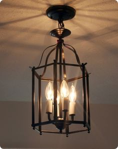 $5 entryway light makeover that reminds me of a Pottery Barn lamp. What a deal!!