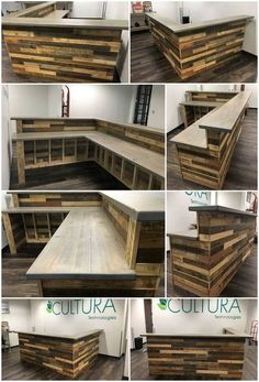 Wooden pallets L-shape desk / counter and bar table #woodpalet ...  #counter #palletideas #pallets #shape #table #wooden #woodpalet