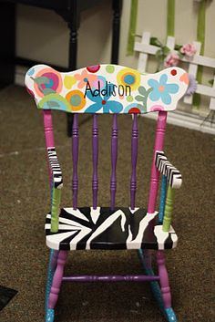 Zebra/flower  chair ~ cute project for lil girl