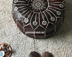 Bohemia Marrakech pouf leather Original by BohemiaMarrakechCom Leather Pouf Ottoman, Ottoman Footstool, Square Pouf, Square Ottoman, Classic Leather, Real Leather, Handmade Ottomans, Moroccan Pouf, Stitching Leather