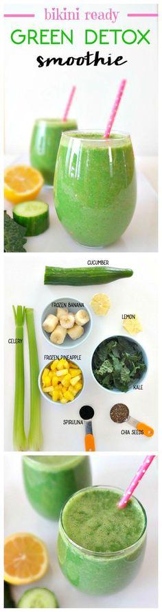 Vegan 'Bikini Ready Green Detox Smoothie' with cleansing, de-bloating, energizing, nourishing ingredients.