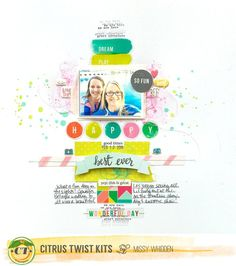 """Citrus Twist Kits DT Project - 2016 May Main """"Beach Glass"""" Kit & Sprinkles Kit; Pink Paislee Fancy Free by Paige Evans; inks by Shimmerz"""