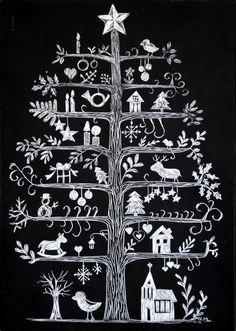 Scandinavian Christmas Tree Scratchboard