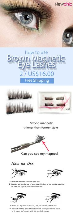 [Newchic Online Shopping] 48%OFF Brown Magnetic Eye Lashes Reusable Ultra Thin Thicker 3D Magnet False Lash Makeup