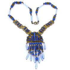 Vintage Czech Art Deco Blue Lapis Glass Bead Ornate Filigree Necklace | Clarice Jewellery