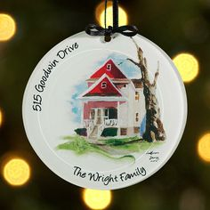 Hand Painted House Glass Ornament - Black Ribbon