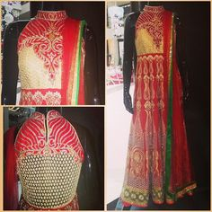 Red anarkali with inticate and heavy zari work all over.