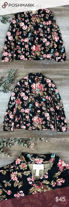 Quilted Chapter Club Jacket Absolutely adorable floral quilted Chapter Club Jacket! In great condition. 100% cotton. Size M. (H-3. B) Chapter Club Jackets & Coats