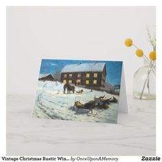 Vintage Christmas Rustic Winter Home Holiday Card