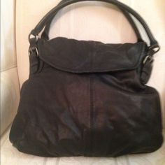 J Jill black leather bag Soft supple black leather bag gently loved.  Good condition with small blue ink spot on front which I couldn't capture on camera.  Due to color of bag don't notice unless you look for it Bags