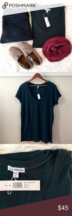 {James Perse} soft slub tee NWT. Gorgeously soft material and vivid color. James Perse size 4 equals a ladies M/L. If a fitted look is wanted I would call this shirt more of a L/XL. James Perse Tops Tees - Short Sleeve